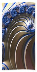 Beach Sheet featuring the digital art Swirly Blue Fractal Art by Bonnie Bruno