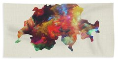 Switzerland Watercolor Map Beach Towel