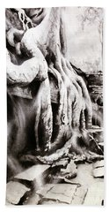 Beach Towel featuring the painting Sycamore Tree Overgrowing Ruins- Cambodia by Ryan Fox