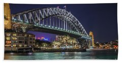 Sydney Harbor Bridge At Night Beach Sheet