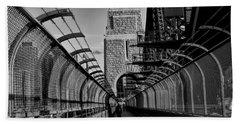 Sydney Harbor Bridge Bw Beach Sheet by Diana Mary Sharpton