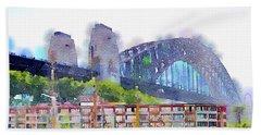 Sydney Harbour Bridge By Mary Bassett Beach Towel