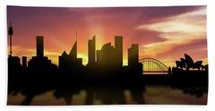 Sydney Skyline Sunset Ausy22 Beach Sheet by Aged Pixel
