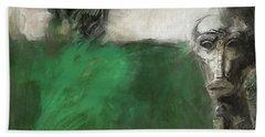 Symbol Mask Painting - 03 Beach Towel by Behzad Sohrabi