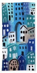 Synagogue- City Stories Beach Towel by Linda Woods