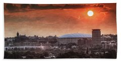 Syracuse Sunrise Over The Dome Beach Sheet by Everet Regal