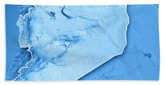 Syria Country 3d Render Topographic Map Blue Border Beach Towel