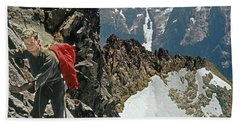 T-04403 Walt Buck Sellers On First Ascent Of Mt. Torment Beach Towel