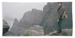 T-04701 Fred Beckey On Mt. Si 1958  Beach Towel
