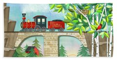 T Is For Train And Train Trestle Beach Sheet