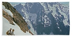 T04402 Beckey And Hieb After Forbidden Peak 1st Ascent Beach Towel
