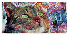 Tabby Cat Color Blast Beach Sheet