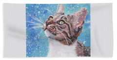Tabby Cat In The Winter Beach Towel