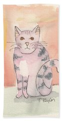 Beach Towel featuring the painting Tabby by Terry Taylor