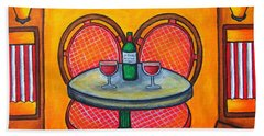 Table For Two In Paris Beach Towel