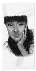 Ariana Grande Drawing By Sofia Furniel Beach Towel by Sofia Furniel