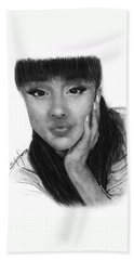 Ariana Grande Drawing By Sofia Furniel Beach Sheet by Sofia Furniel