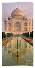 Taj Mahal At Sunrise Beach Towel