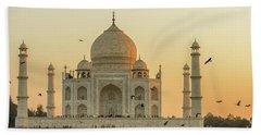 Taj Mahal At Sunset 01 Beach Towel