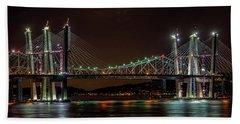 Tale Of 2 Bridges At Night Beach Towel