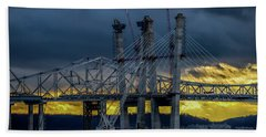 Tale Of 2 Bridges At Sunset Beach Towel