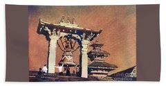 Beach Towel featuring the painting Taleju Bell- Patan, Nepal by Ryan Fox