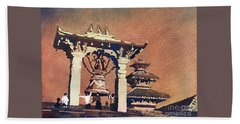 Beach Sheet featuring the painting Taleju Bell- Patan, Nepal by Ryan Fox