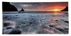 Beach Towel featuring the photograph Talisker Bay Rocky Sunset by Grant Glendinning