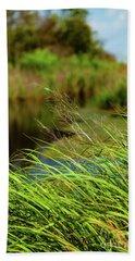Tall Grass At Boat Dock Beach Towel