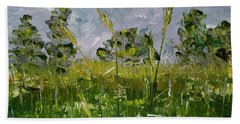 Beach Towel featuring the painting Tall Grass by Judith Rhue