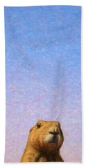 Beach Towel featuring the painting Tall Prairie Dog by James W Johnson