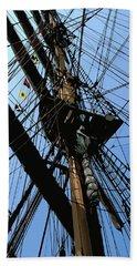 Tall Ship Design By John Foster Dyess Beach Towel