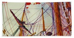 Tall Ship Lines Beach Towel