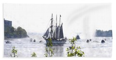 Tall Ship Tswc Beach Sheet by Jim Brage