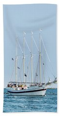 Tall Ship Windy - Chicago Beach Sheet by John Black