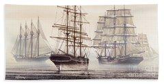 Tall Ships Beach Towel by James Williamson
