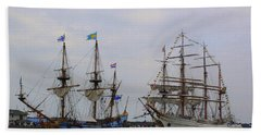 Historic Tall Ships Hermione And Sagres Beach Towel
