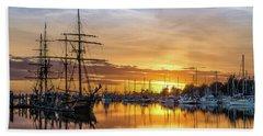 Tall Ships Sunset 1 Beach Sheet by Greg Nyquist