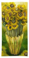 Beach Towel featuring the mixed media Tall Sunflowers In Sunflower Vase by Carol Cavalaris