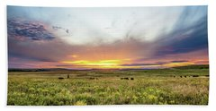 Tallgrass Prairie - Incredible Sunset Over Open Plains In Oklahoma Beach Towel