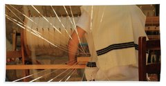 Beach Towel featuring the photograph Jewish Prayer Shawl Weaving In Tzfat by Yoel Koskas
