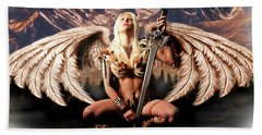 Talon Of The Hawk Woman Beach Towel