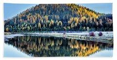 Tamarack Glow Idaho Landscape Art By Kaylyn Franks Beach Sheet