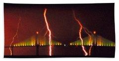 Tampa Bay Lightning Over The Skyway Bridge Beach Sheet