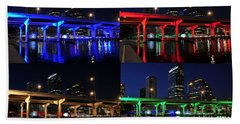 Beach Towel featuring the photograph Tampa's Colorful Bridges by David Lee Thompson