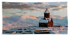 Tanahat Monastery At Sunset In Winter, Armenia Beach Towel