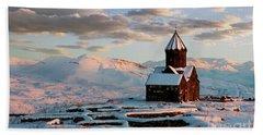 Tanahat Monastery At Sunset In Winter, Armenia Beach Towel by Gurgen Bakhshetsyan