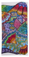 Beach Towel featuring the drawing Tanglemania by Megan Walsh