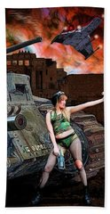 Tank Girl In Action Beach Towel