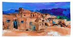 Taos Pueblo Village Beach Sheet by Elise Palmigiani